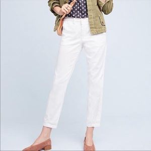 ANTHROPOLOGIE White Chino relaxed  pants 28